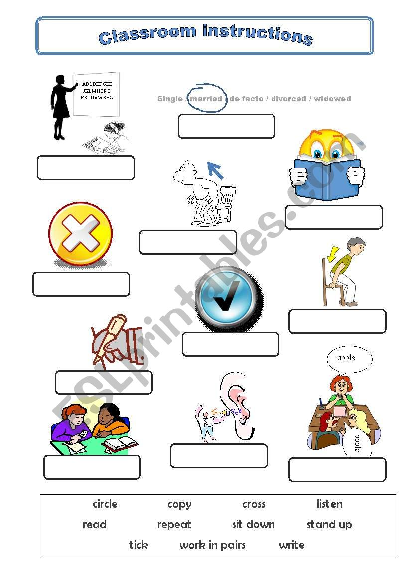 classroom instructions vocabulary esl worksheet by ibululu. Black Bedroom Furniture Sets. Home Design Ideas
