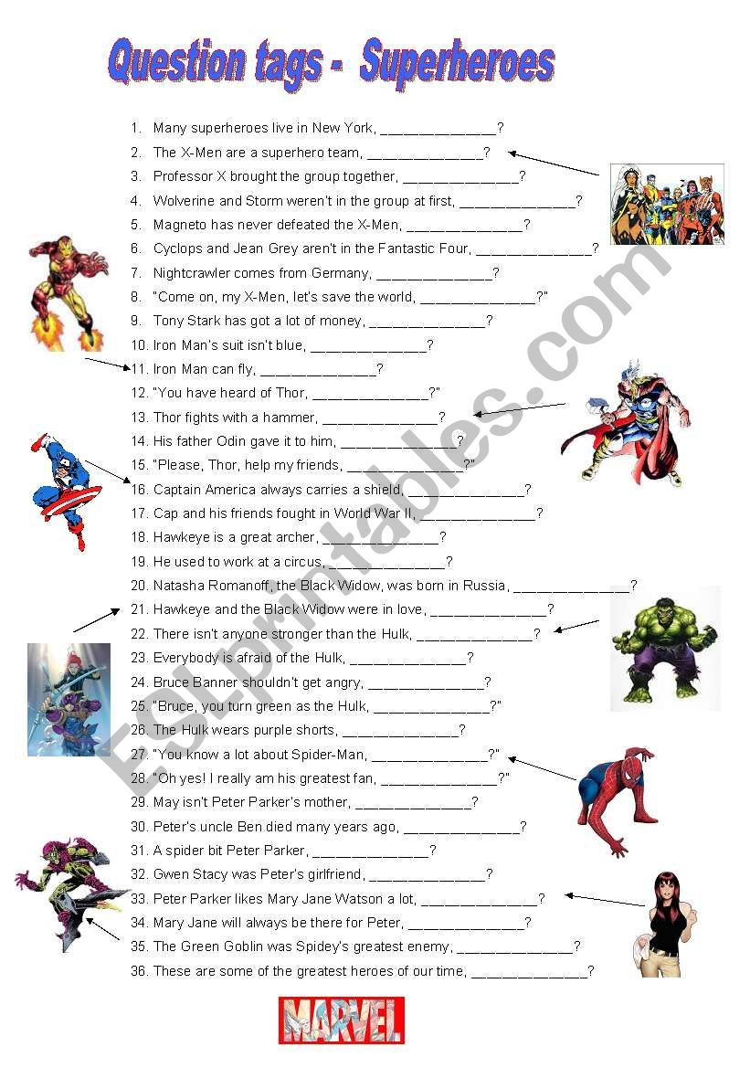 English Worksheets Question Tags Marvel Comics Superheroes