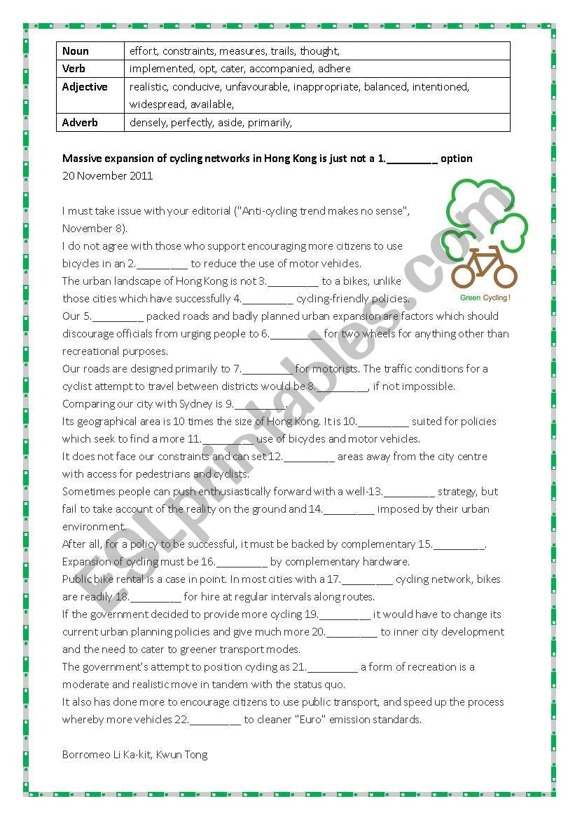 Cloze passage - ESL worksheet by steptong