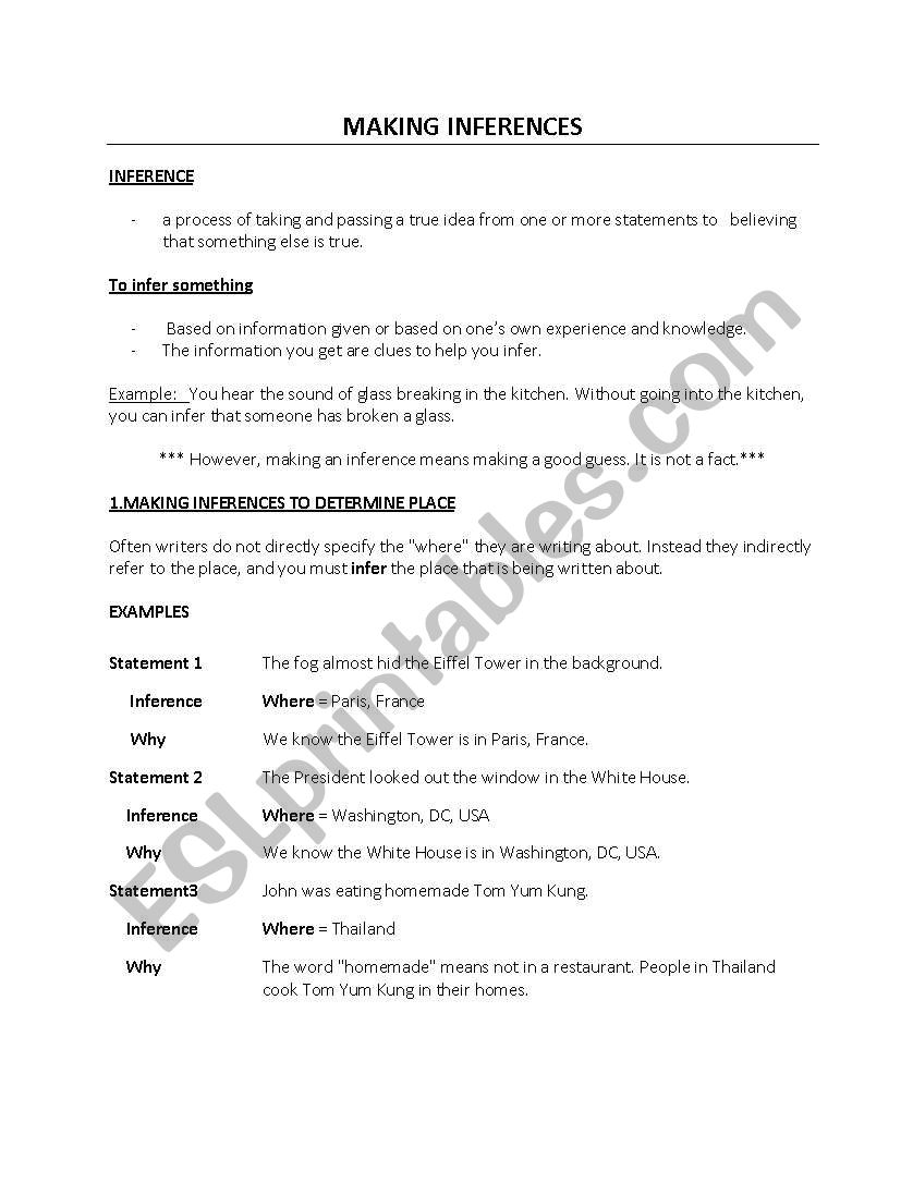 Worksheets Making Inferences Worksheets making inferences esl worksheet by prettycare00 worksheet