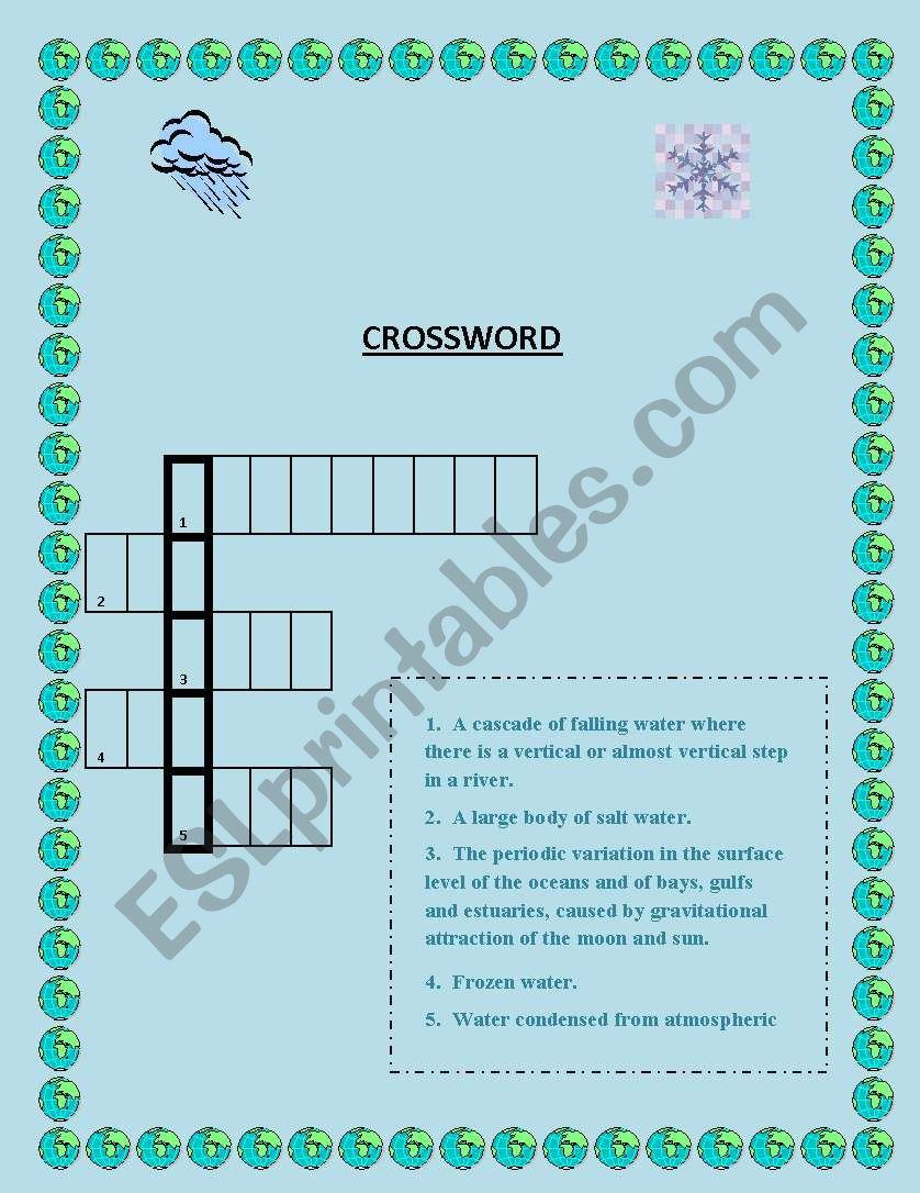 Crossword - Water worksheet