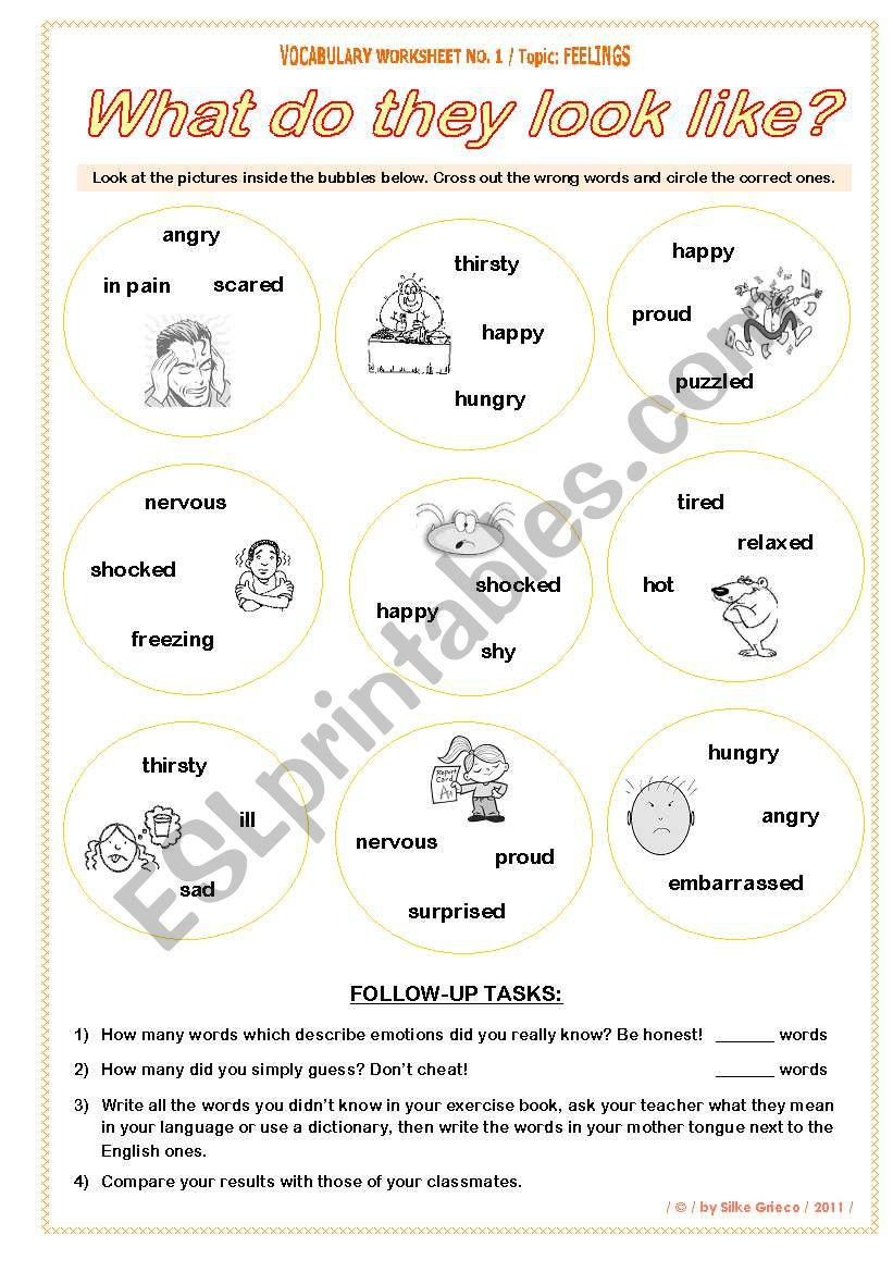 Feelings What Do They Look Like Vocabulary Worksheet No 1