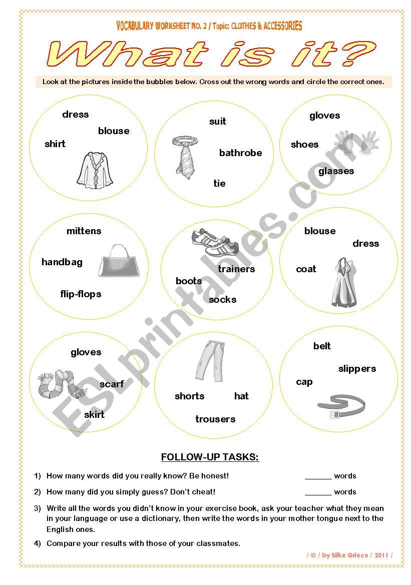 CLOTHES • What is it? • VOCABULARY WORKSHEET NO. 2 • answer key included • fully editable • GOOD FOR ADULTS AT BEGINNER OR ELEMENTARY LEVEL, TOO!!