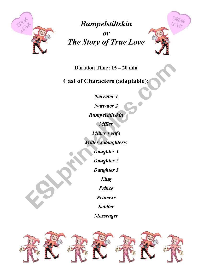 Rumpelstiltskin or a Story of True Love play script (6 pages)
