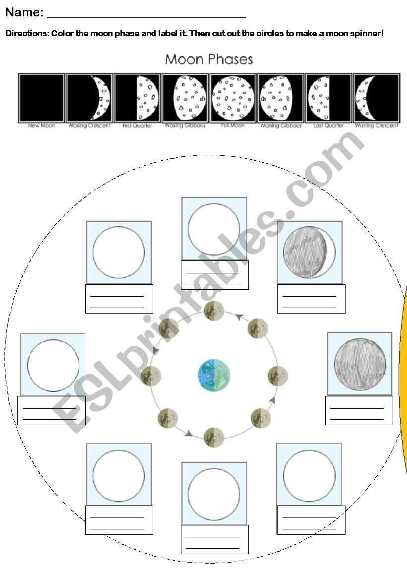 printable worksheets moon phases - 601×849