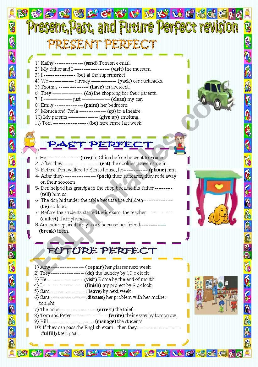Present,Past,and Future perfect revision.( key included)