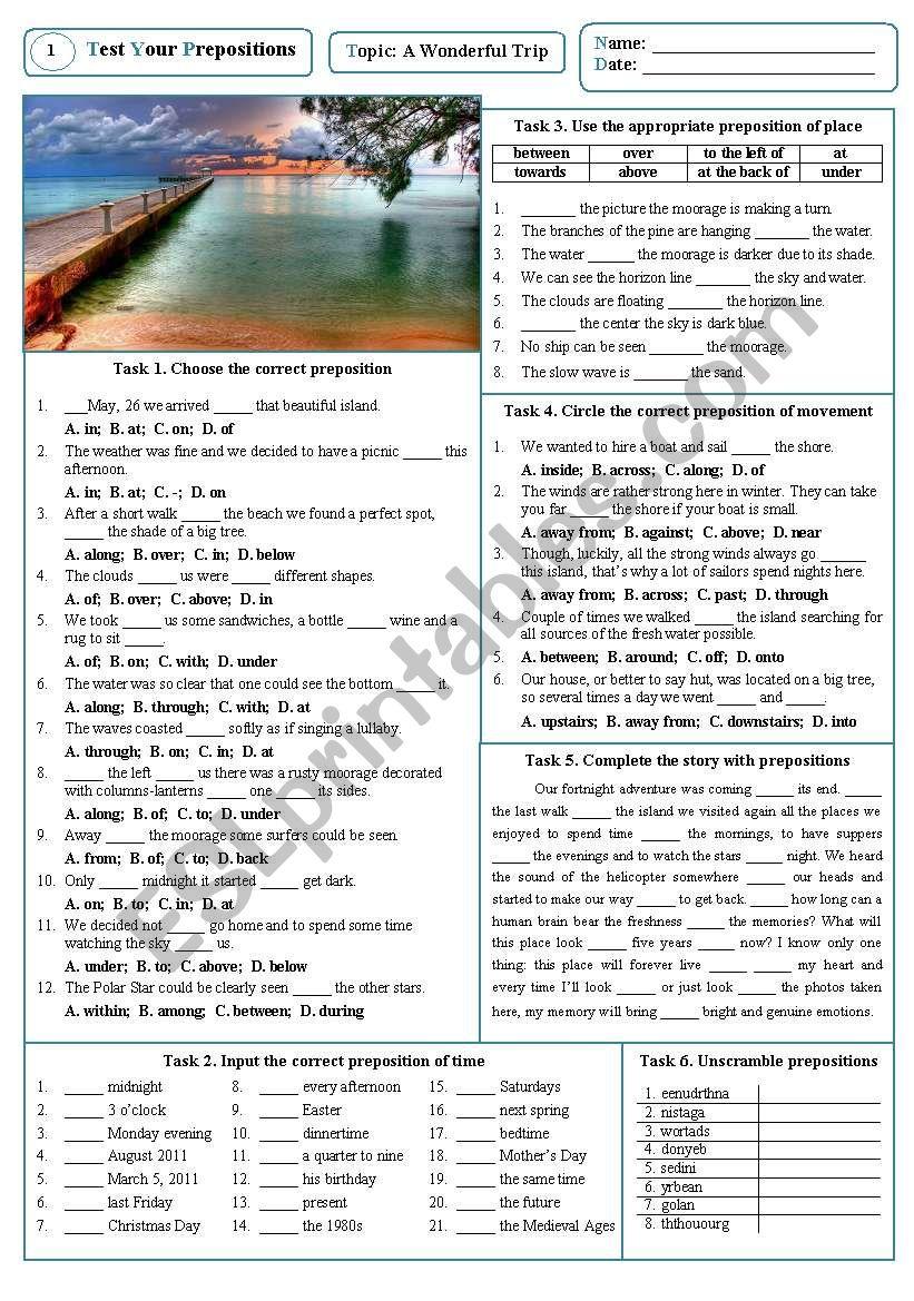 Test Your Prepositions 01 (A Wonderful Trip)