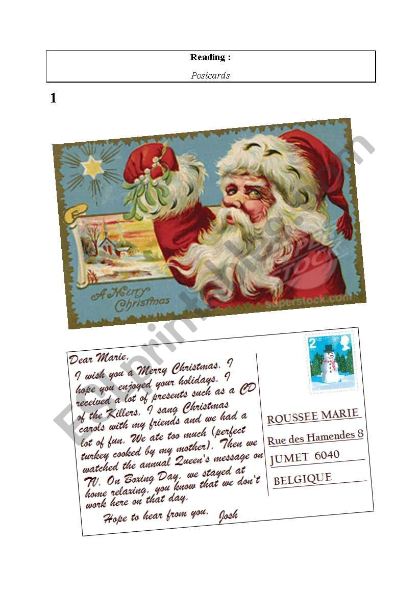 Christmas postcard from UK worksheet