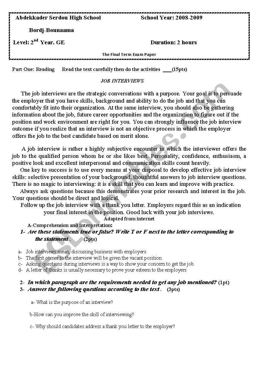 Scond uear high school worksheet