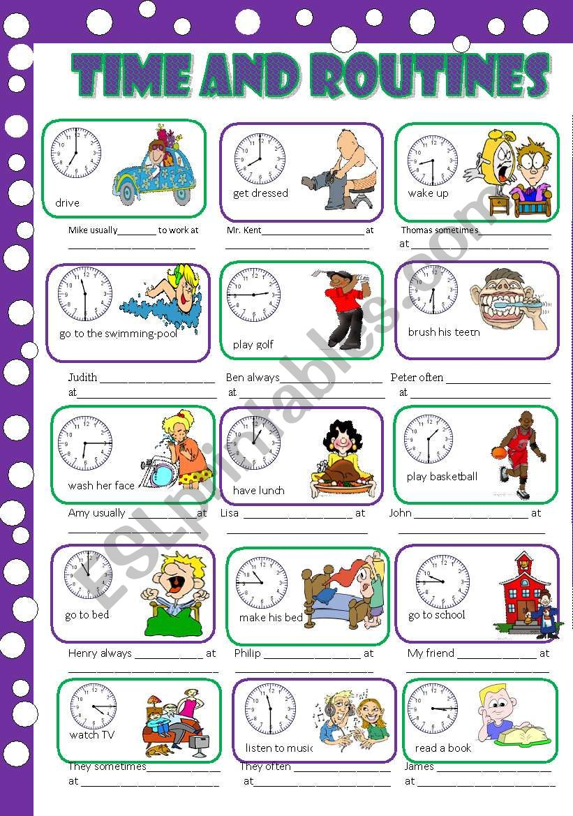 Time and routines worksheet