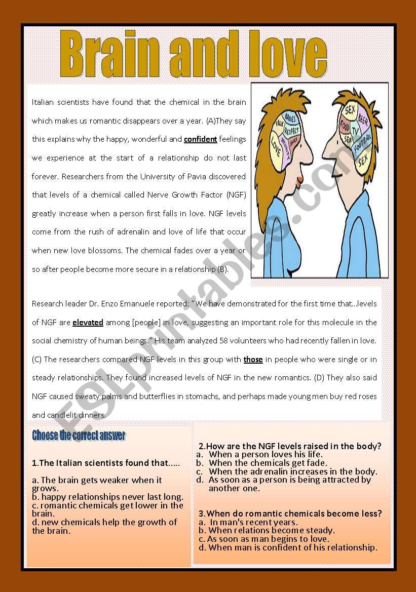 Reading comprehension ( brain and love)