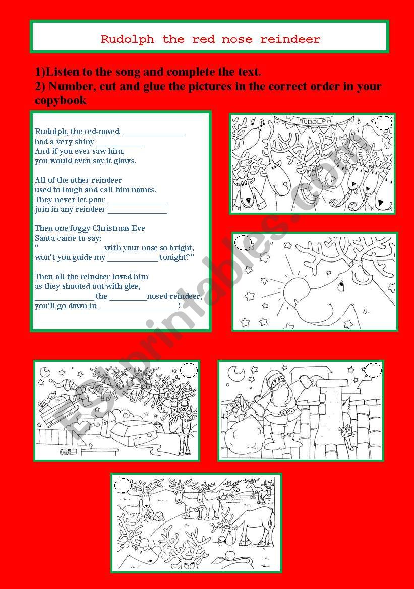 RUDOLPH THE RED NOSE REINDEER song and activity