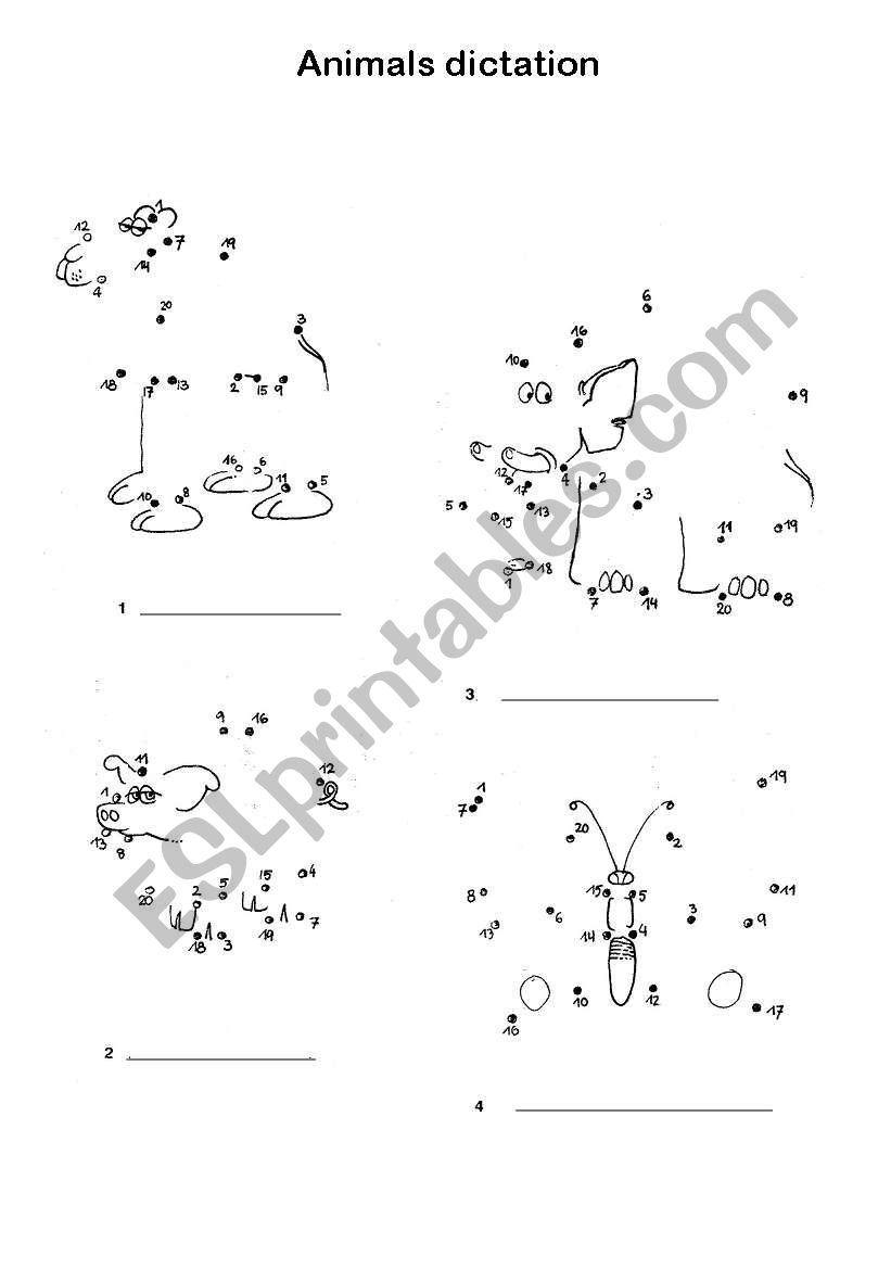js animals dictation worksheet