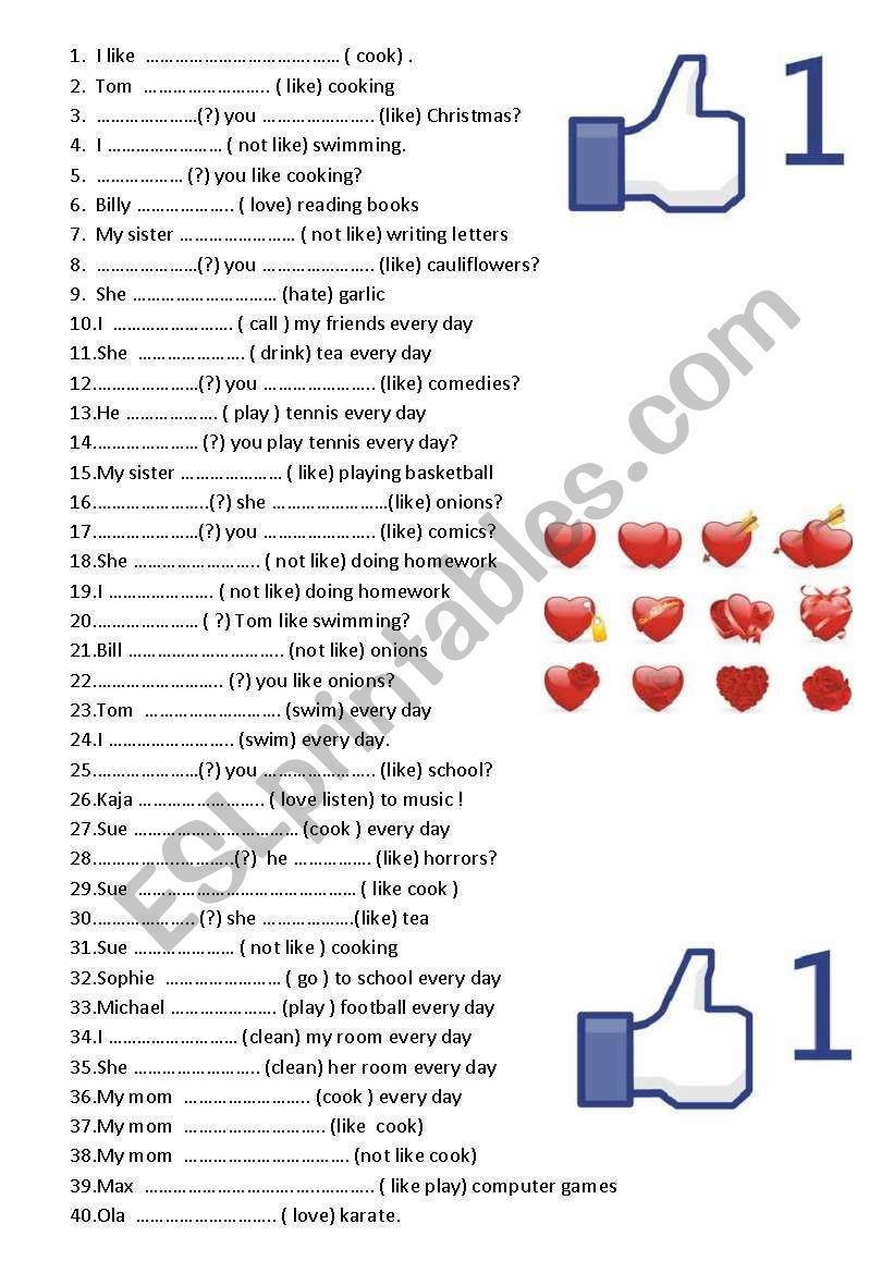Present simple test 80 sentences !!!!  like love hate do does