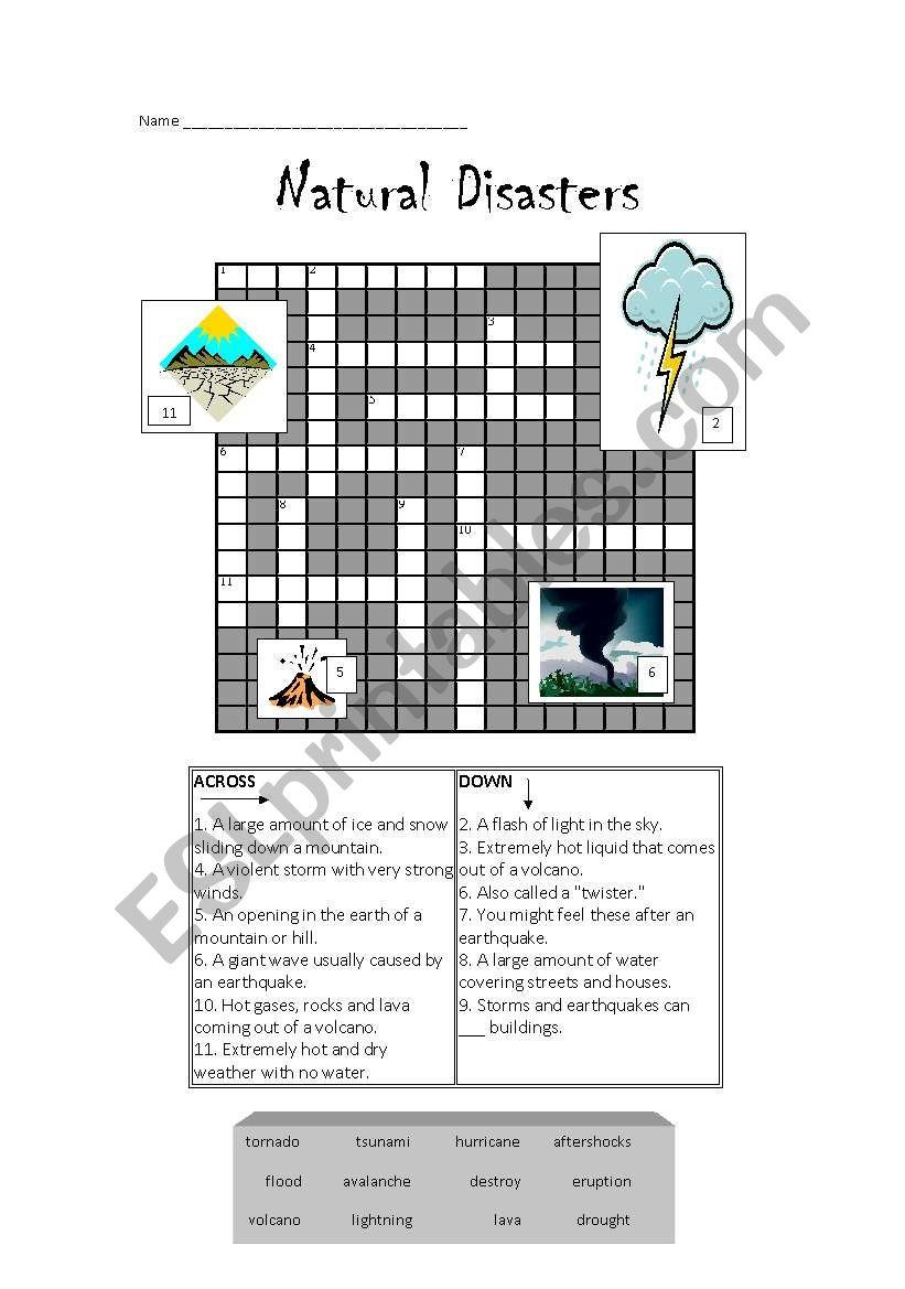 natural disasters crossword editable esl worksheet by rachel41. Black Bedroom Furniture Sets. Home Design Ideas