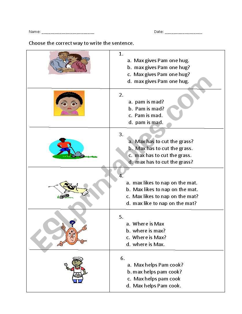 Capitalization And Punctuation Choose The Correct Sentence Esl