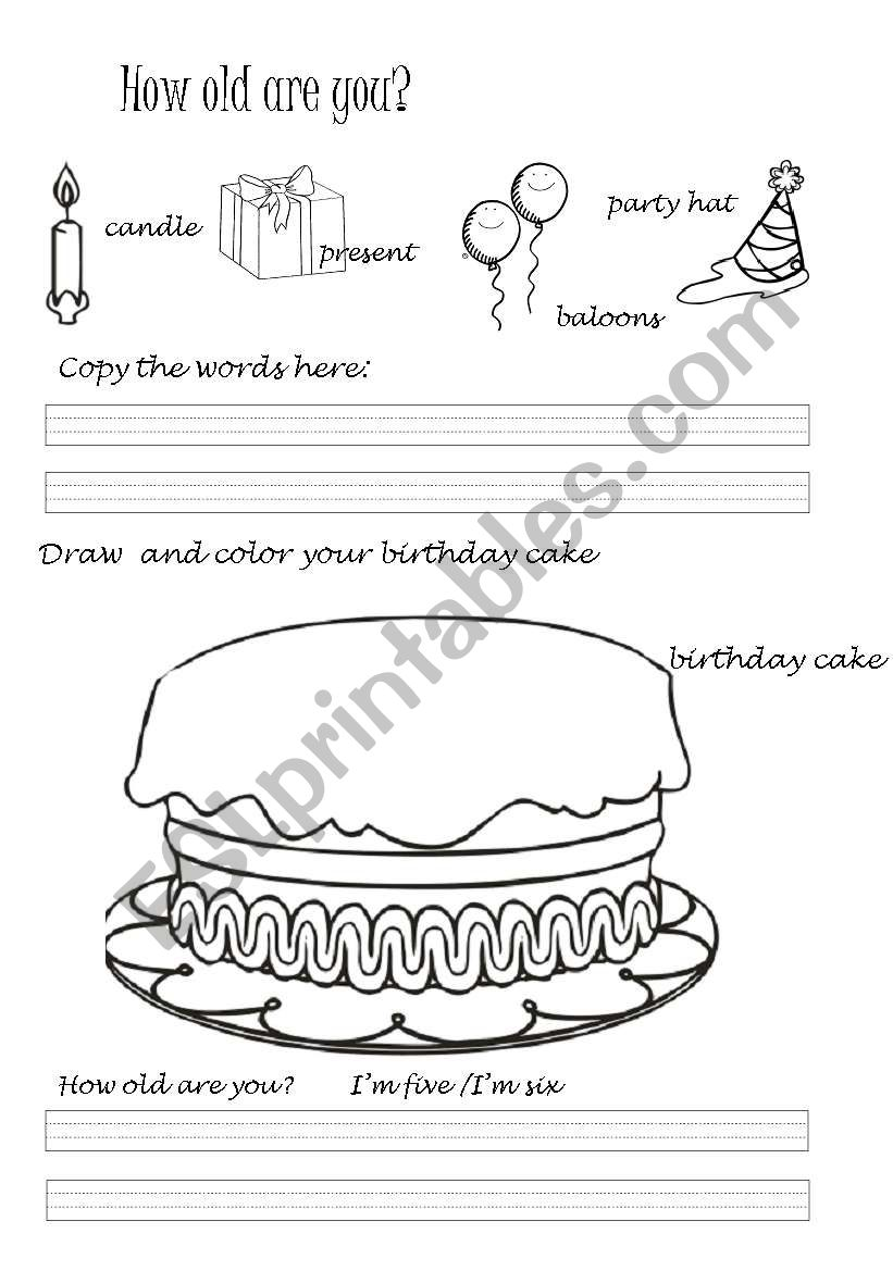 colour the birthday cake esl worksheet by emilitapolaquita. Black Bedroom Furniture Sets. Home Design Ideas