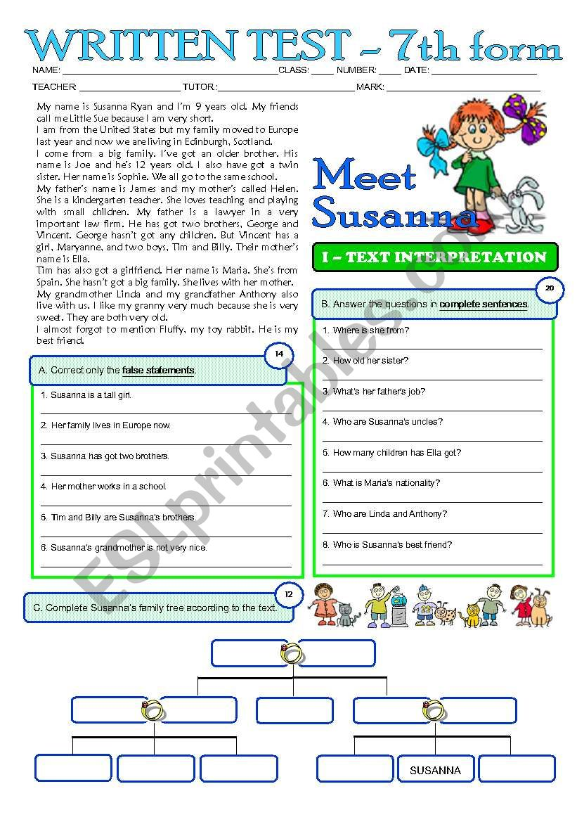 MEET SUSANNA - A 2page test for my 7 graders (3 years of English) greyscale + key