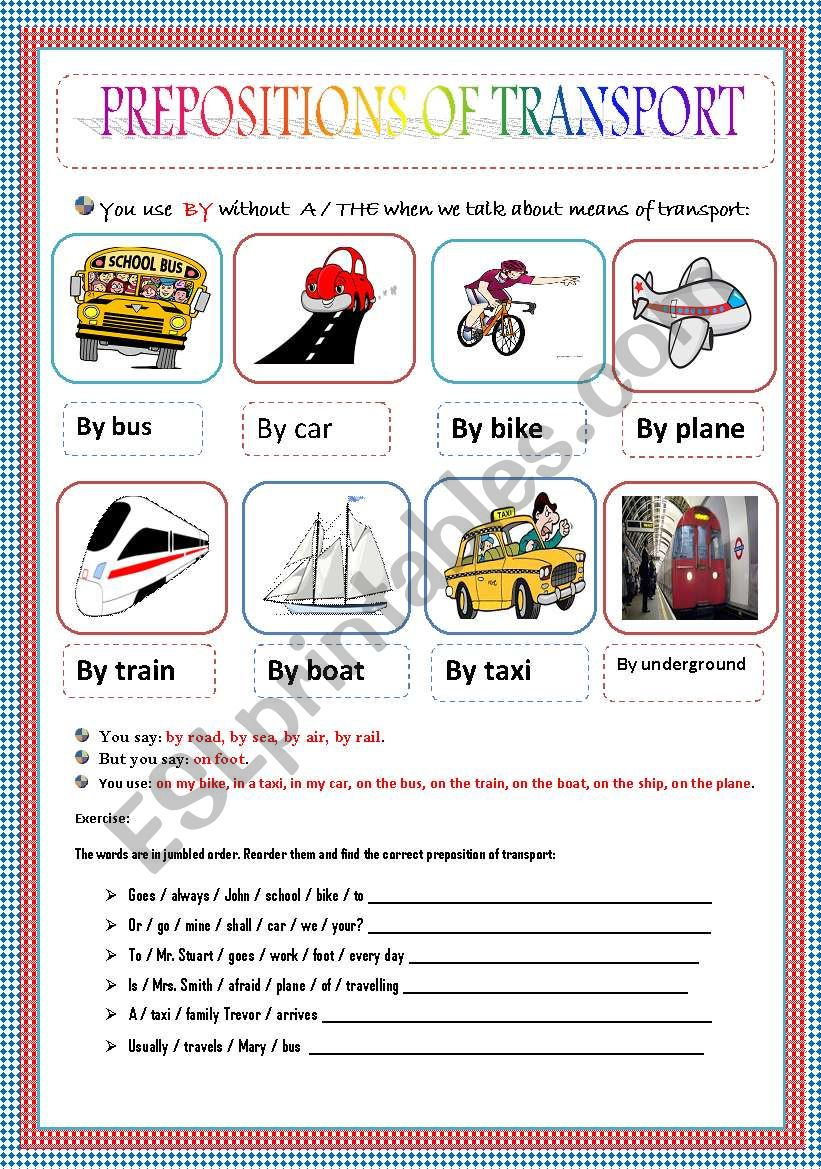 PREPOSITIONS OF TRANSPORT worksheet