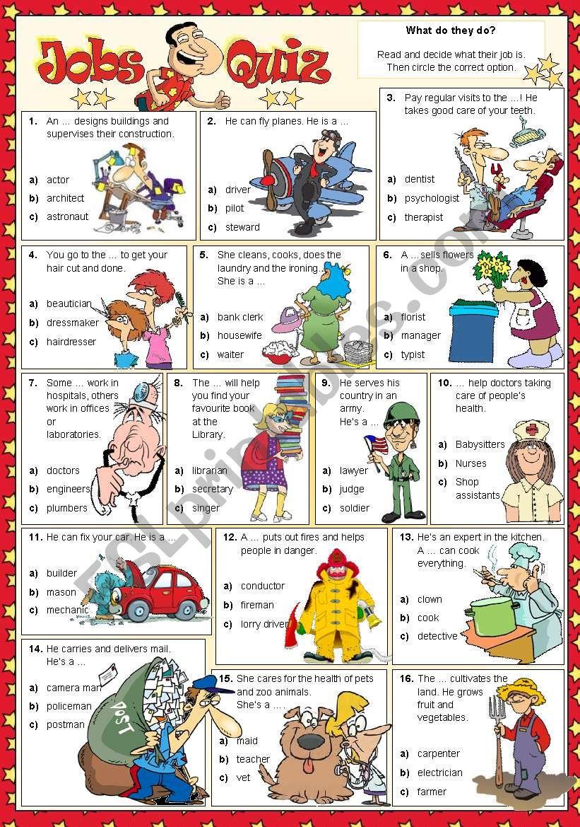 Jobs Quiz worksheet