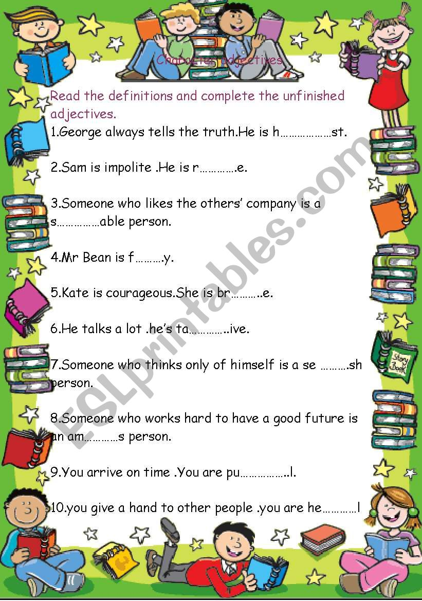 Character adjectives worksheet