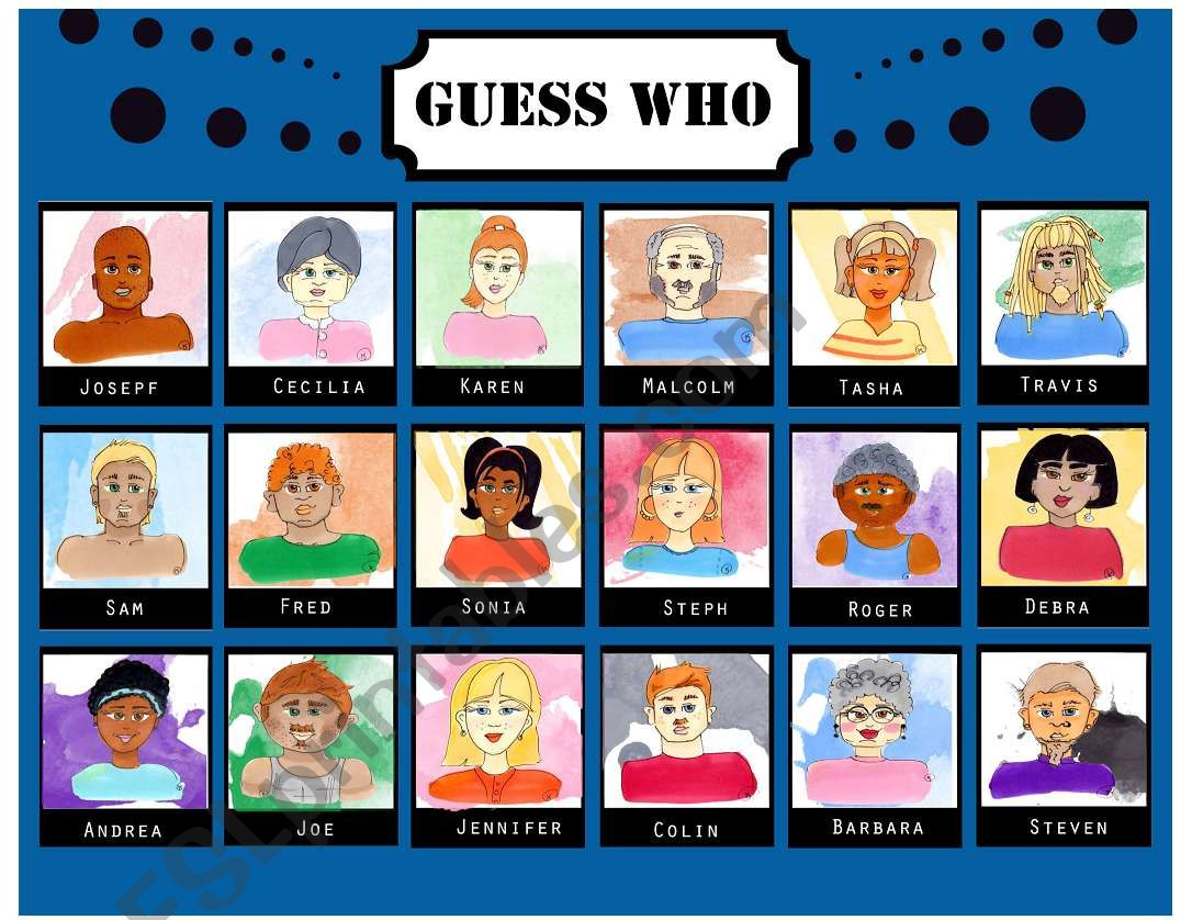 Guess Who 18 faces - 1/4 worksheet