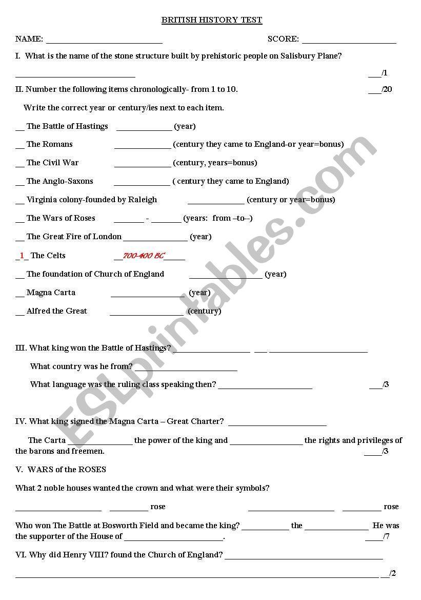 BRITISH HISTORY - TEST worksheet