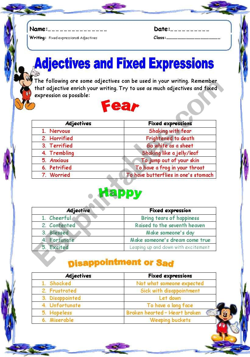 Adjective and idioms for writing a story