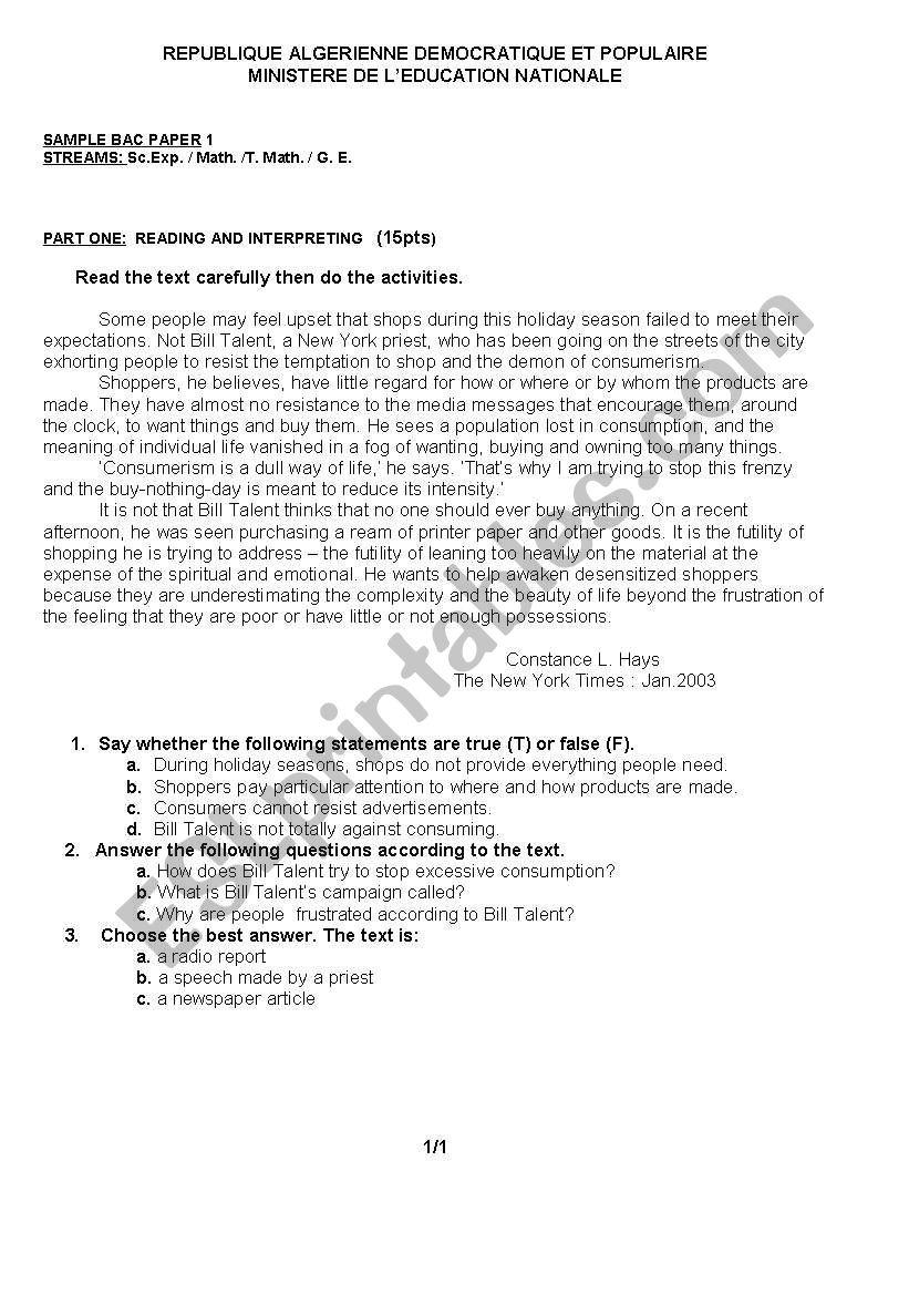 bac sample worksheet