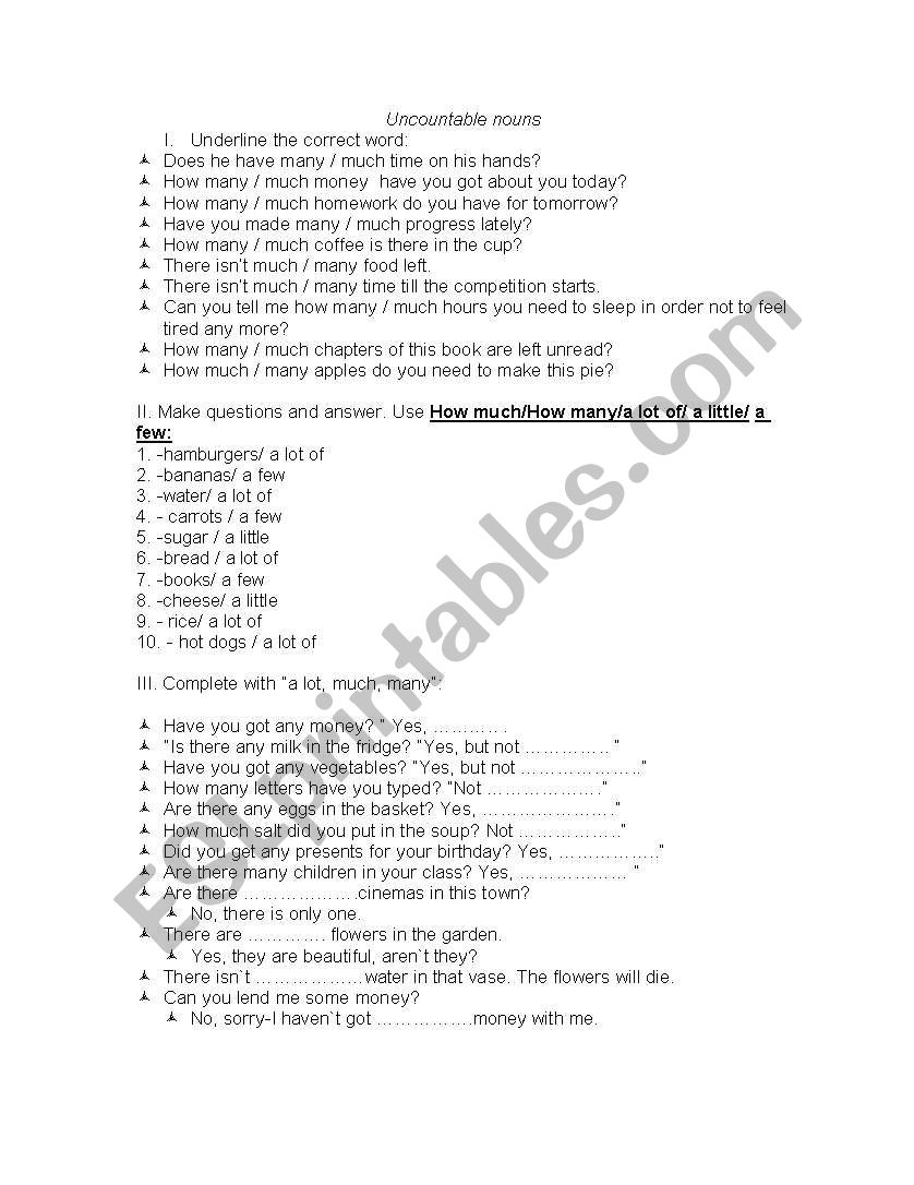 Uncountable nouns, many, much worksheet