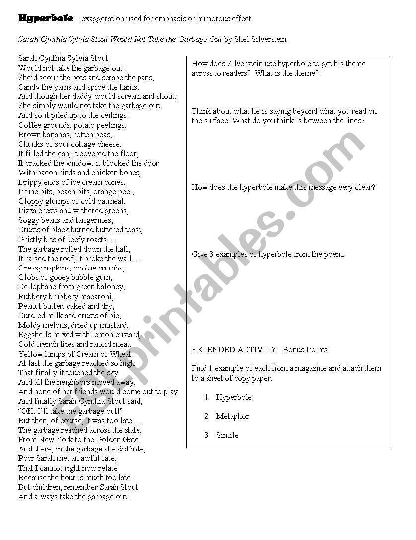 image relating to Sarah Cynthia Sylvia Stout Printable referred to as Hyperboles - ESL worksheet via treatment37912