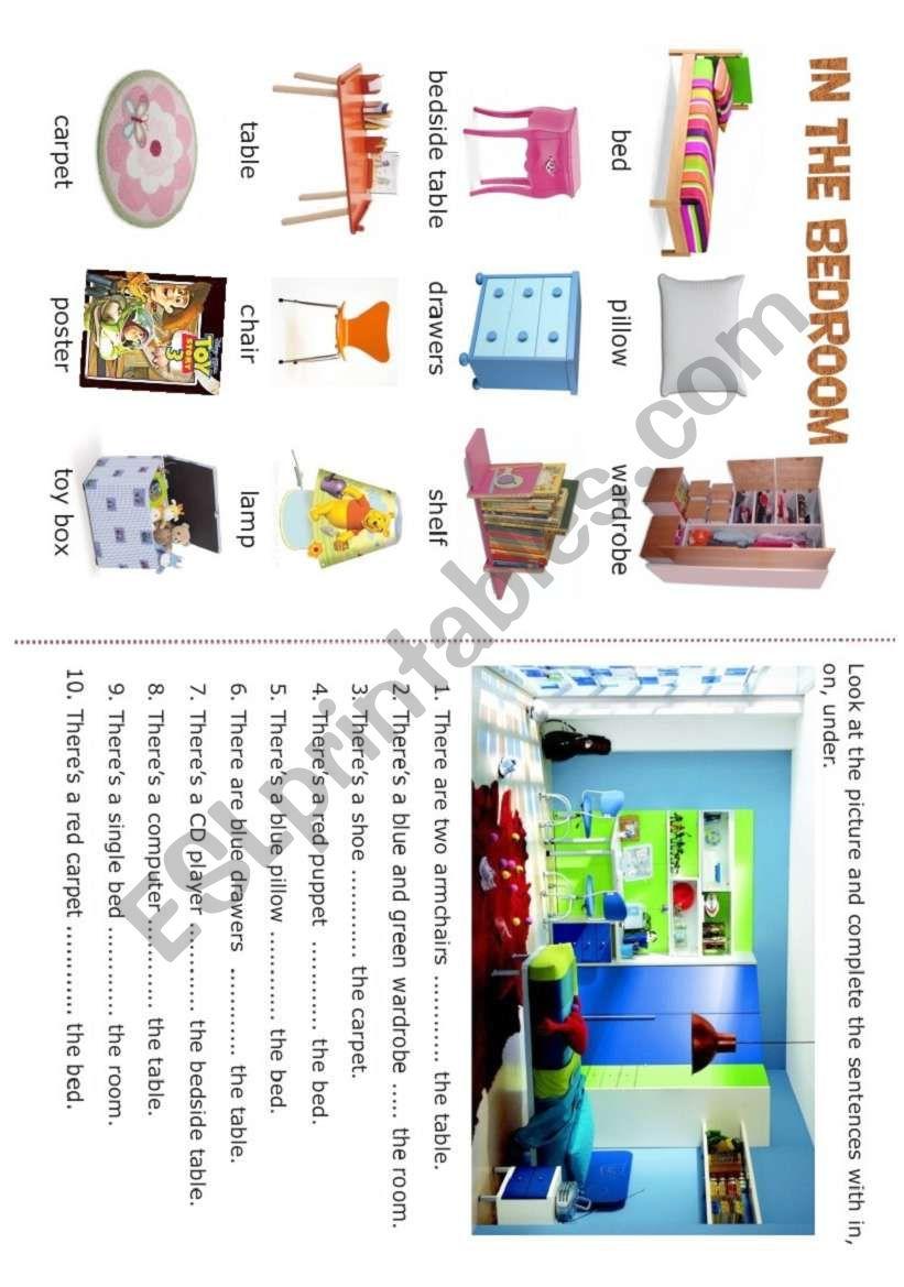 HOUSE - In the bedroom - 1/5 worksheet