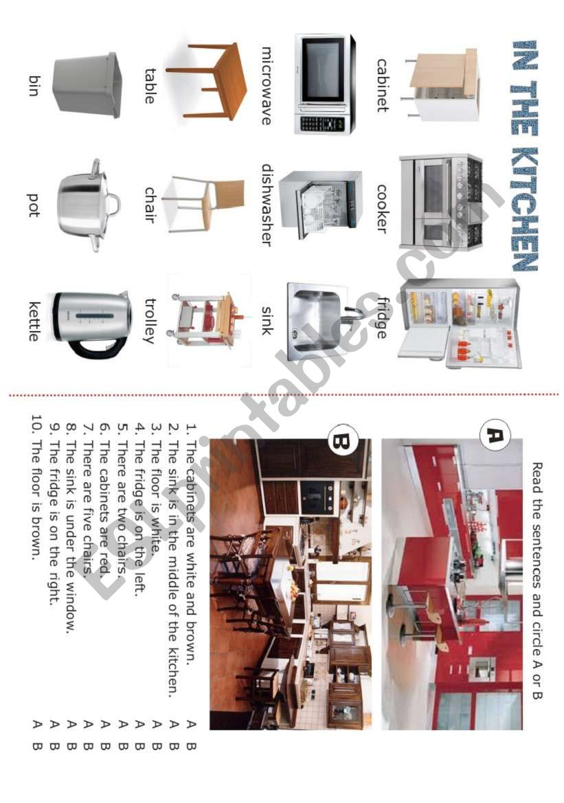 HOUSE - In the kitchen - 3/5 worksheet