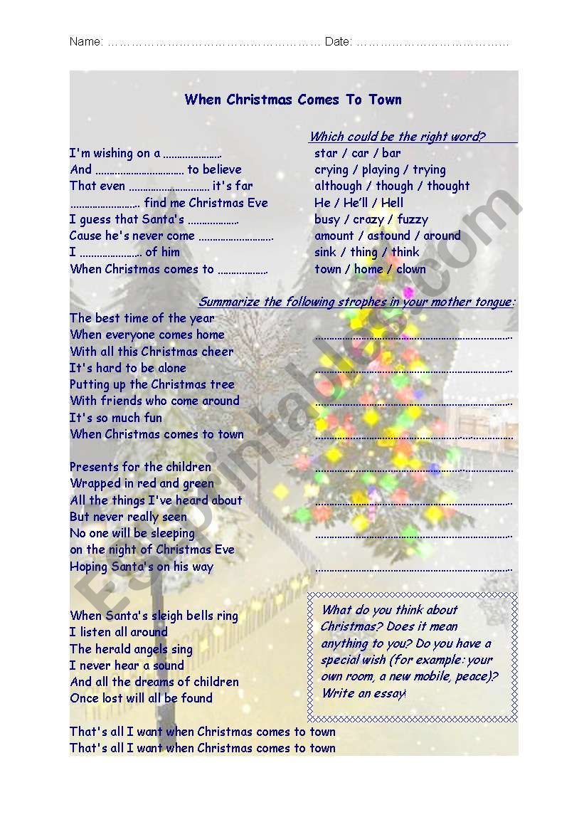 songsheet worksheet when christmas comes to town - When Christmas Comes To Town