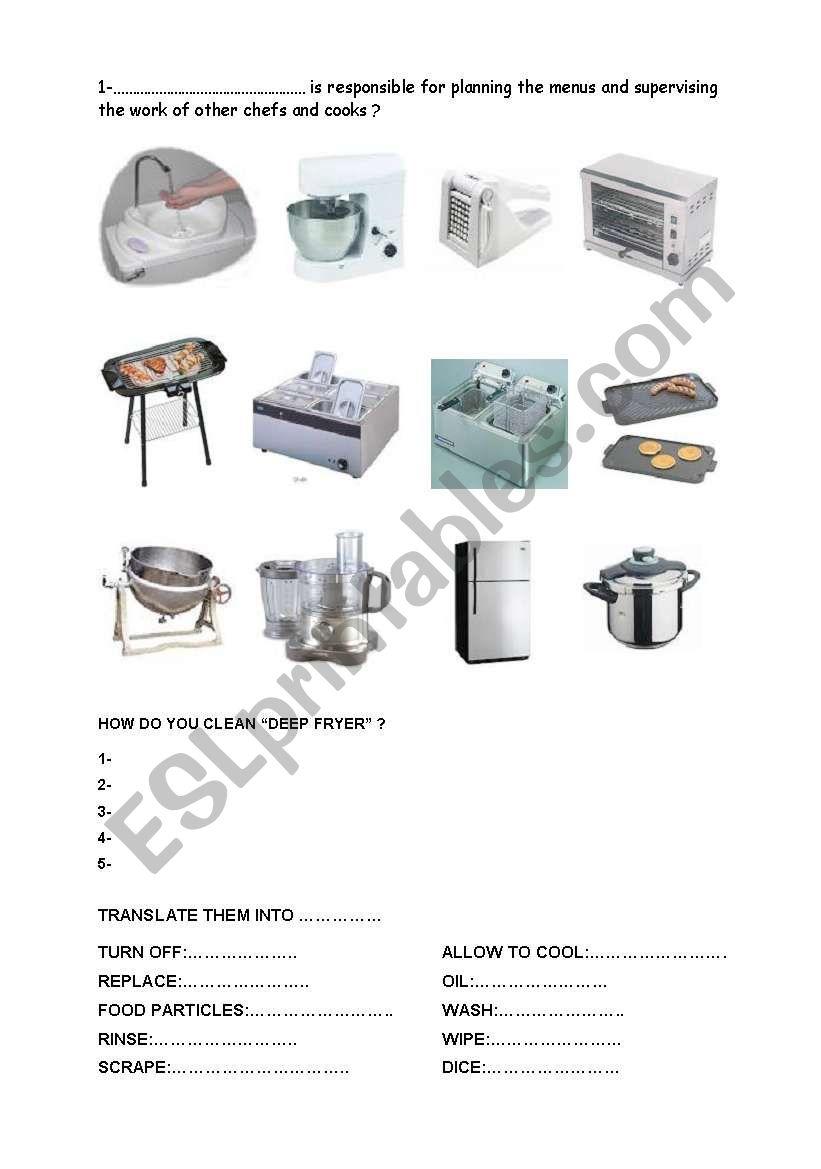 kýtchen equipments worksheet