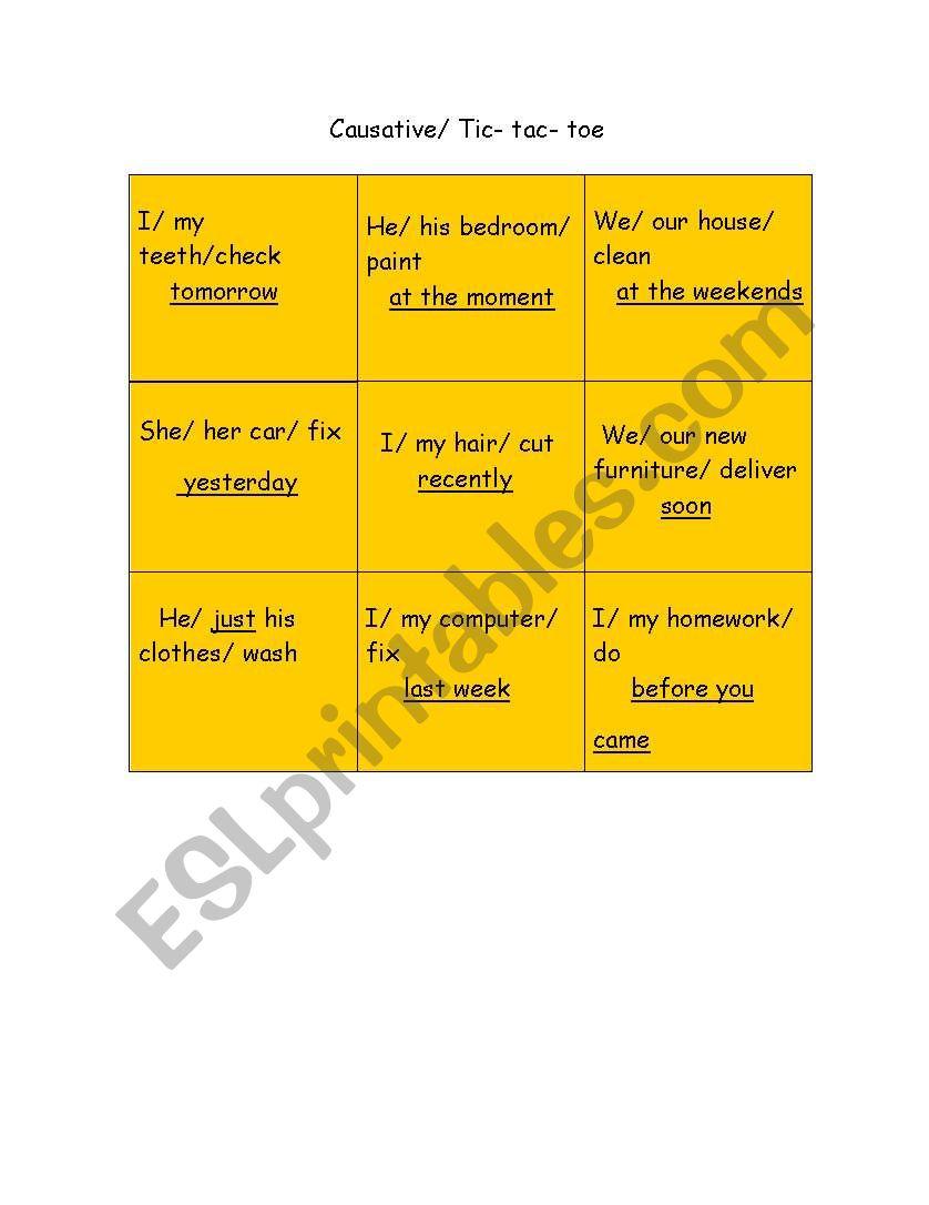 Causative Tic Tac Toe game worksheet