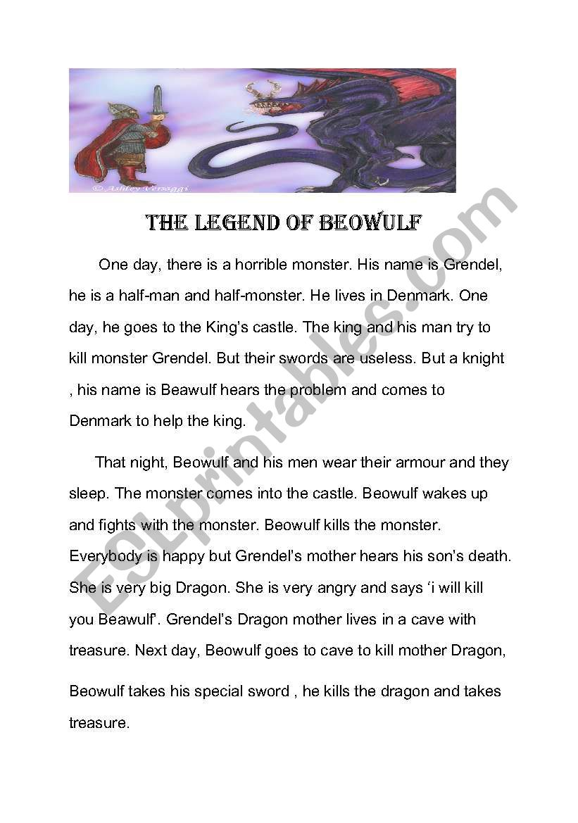 Worksheets Beowulf Worksheets beowulf simple story esl worksheet by kateharison worksheet