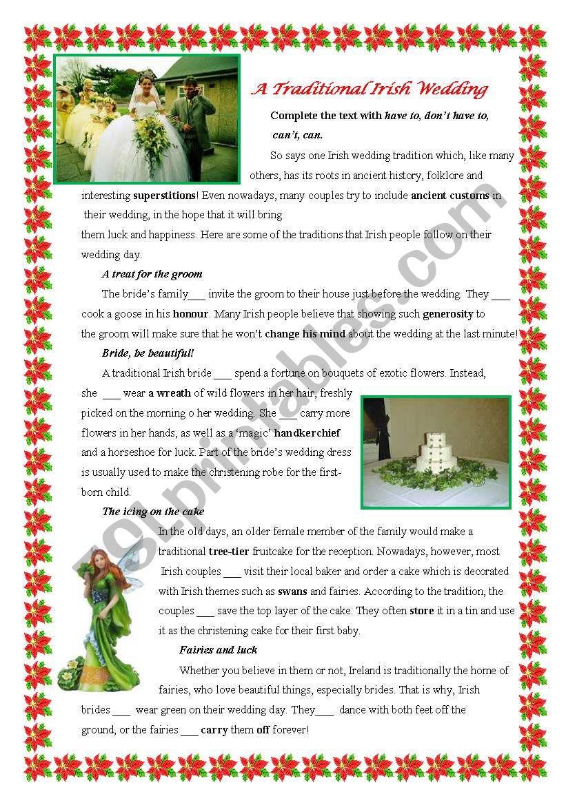 A Traditional Irish Wedding worksheet