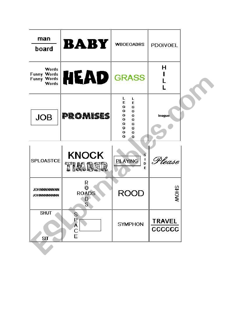 English Worksheets Rebus Puzzle