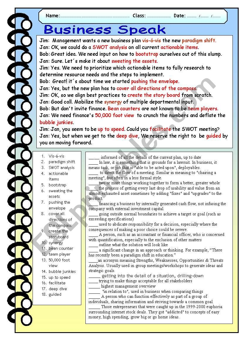 Business Speak worksheet