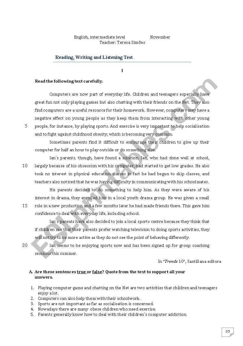 Eglisg test worksheet