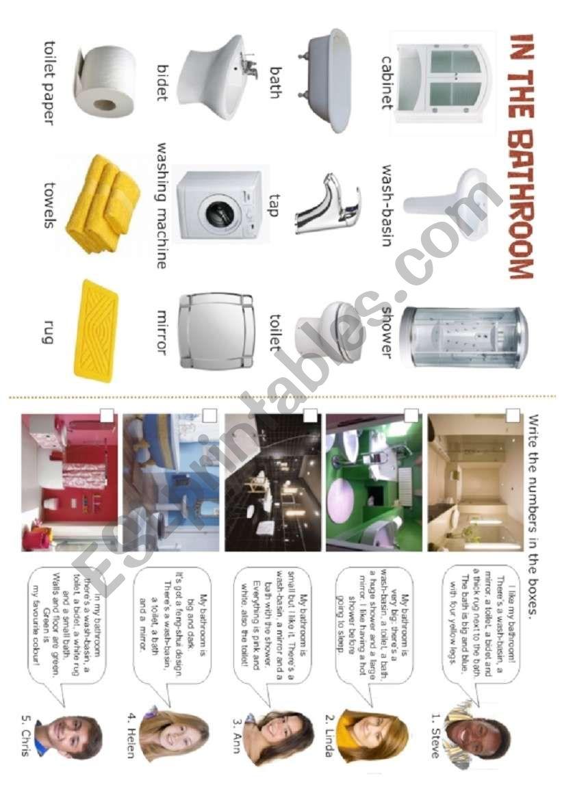 HOUSE - In the bathroom - 4/5 worksheet