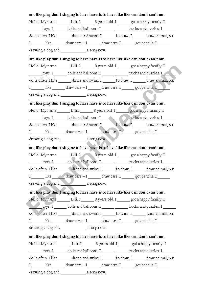 About myself worksheet