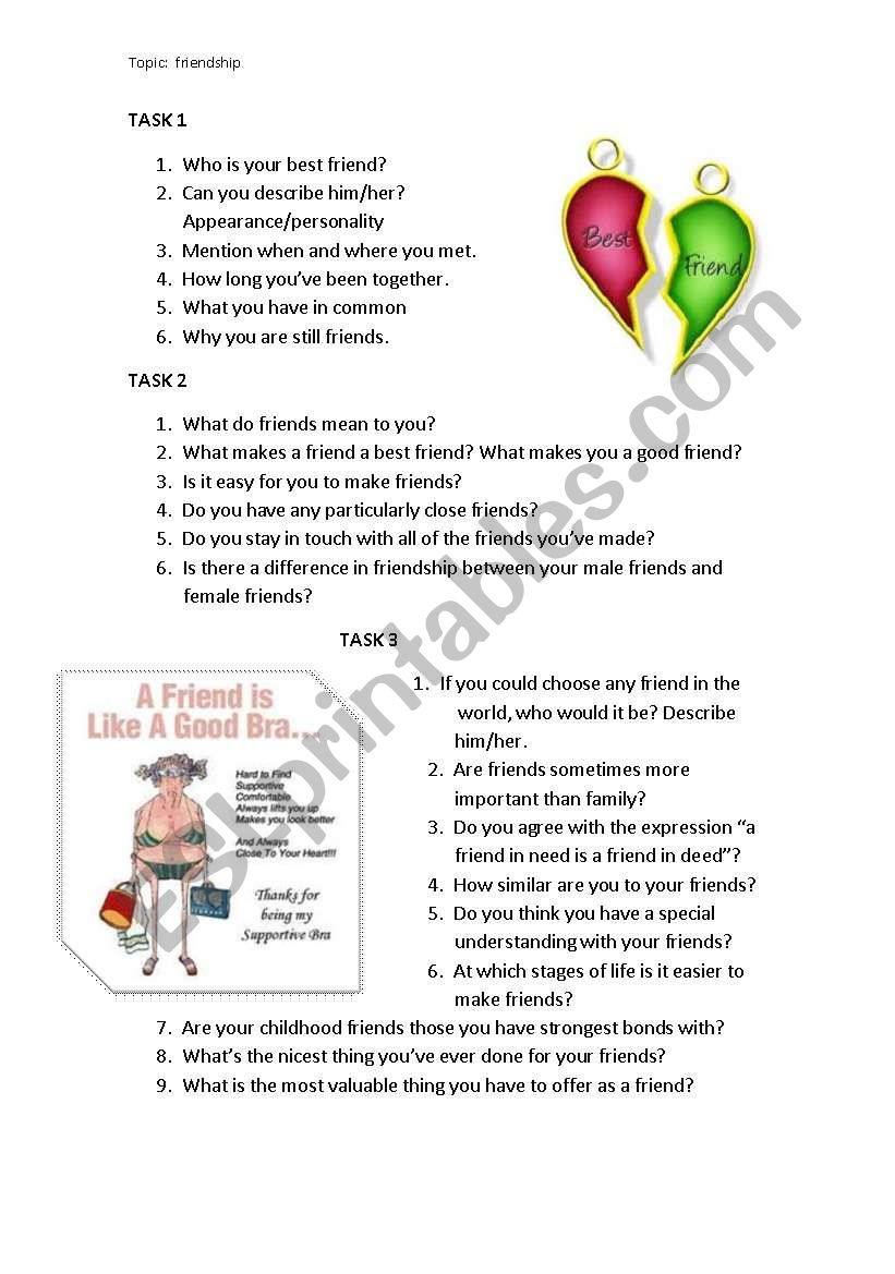 FRIENDSHIP SPEAKING PROMPTS worksheet