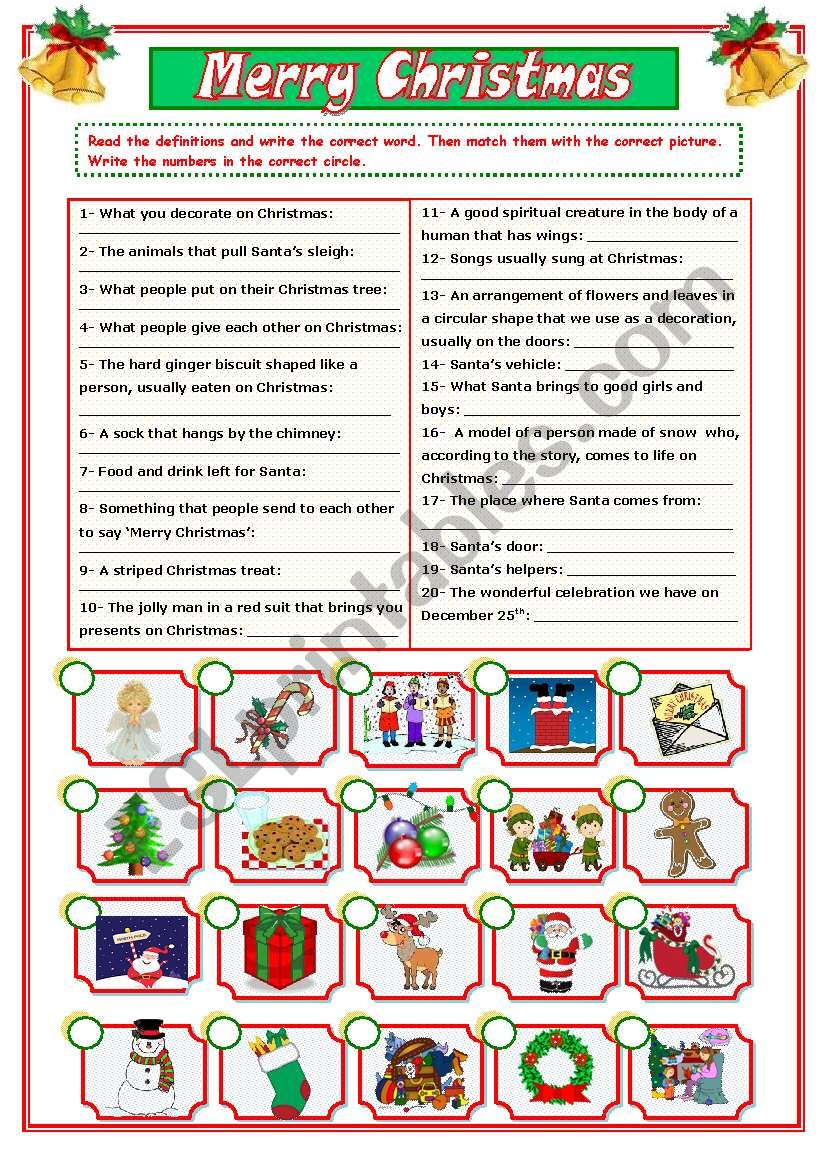 CHRISTMAS VOCABULARY (2/2) worksheet