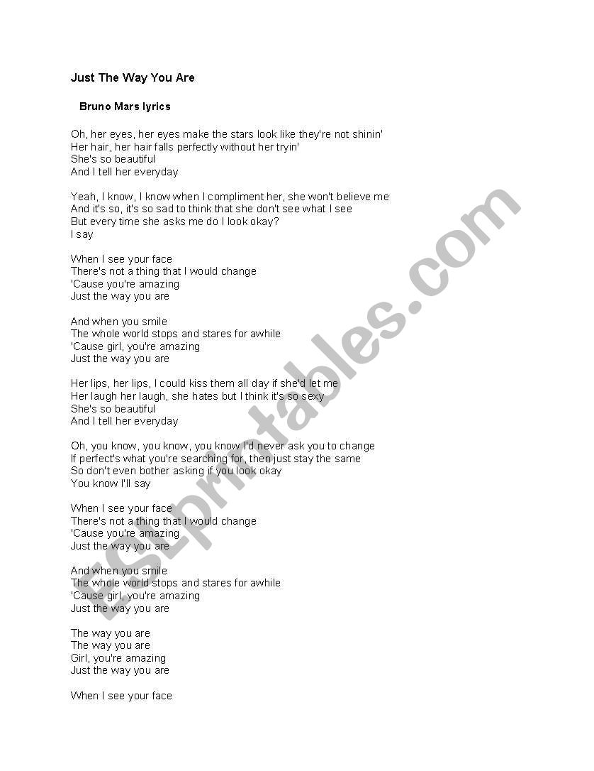 English worksheets: Just the Way you are Lyrics