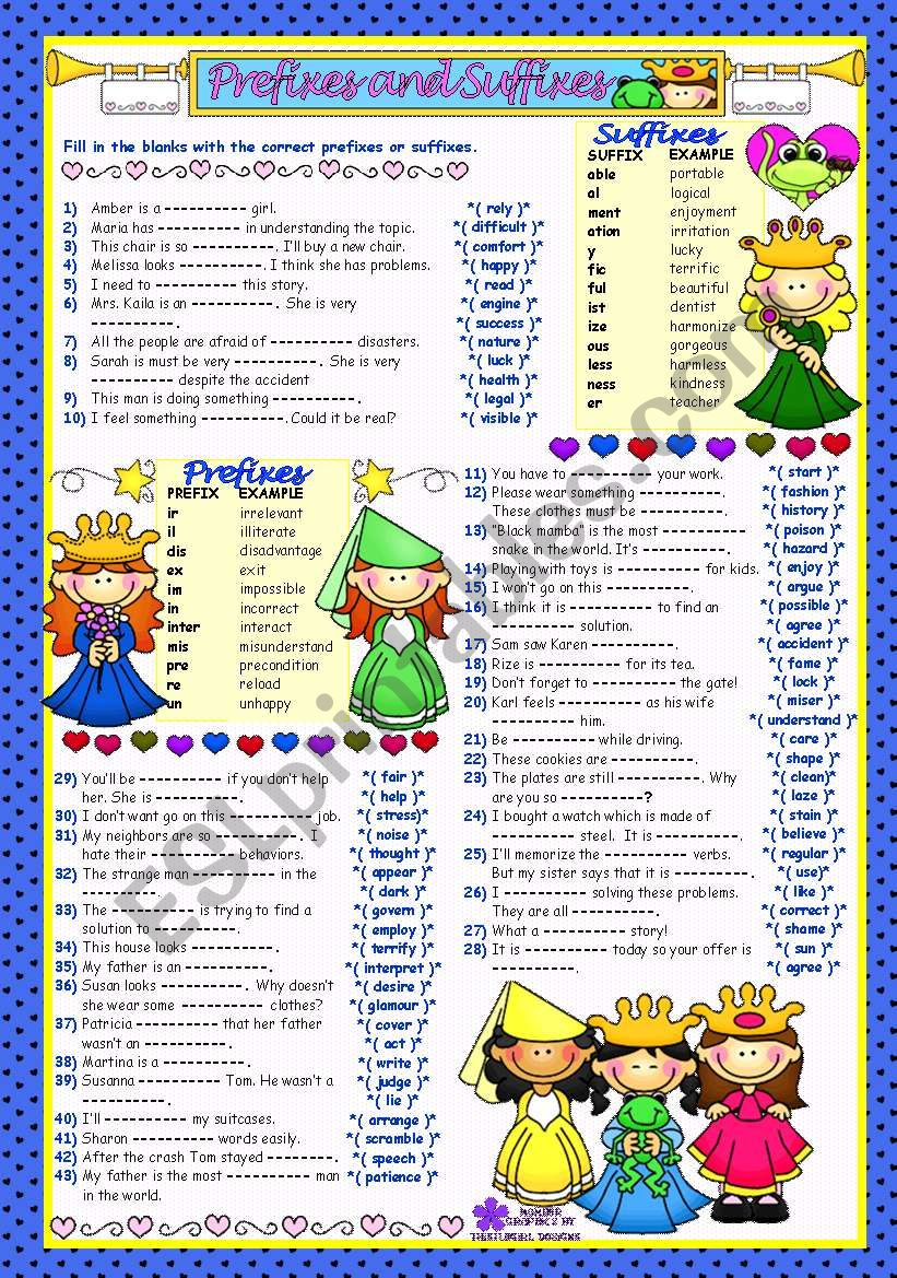 WORD FORMATION - 3***PREFIXES&SUFFIXES*** (B&W+KEY included)