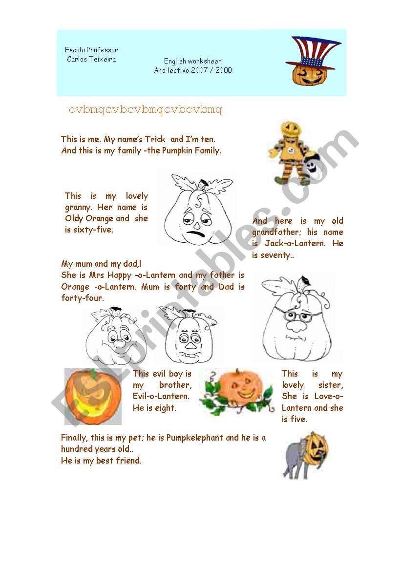 Pumpkin Family worksheet