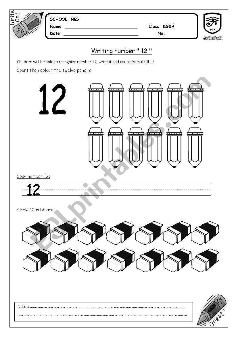 English Worksheets Writing Number 12