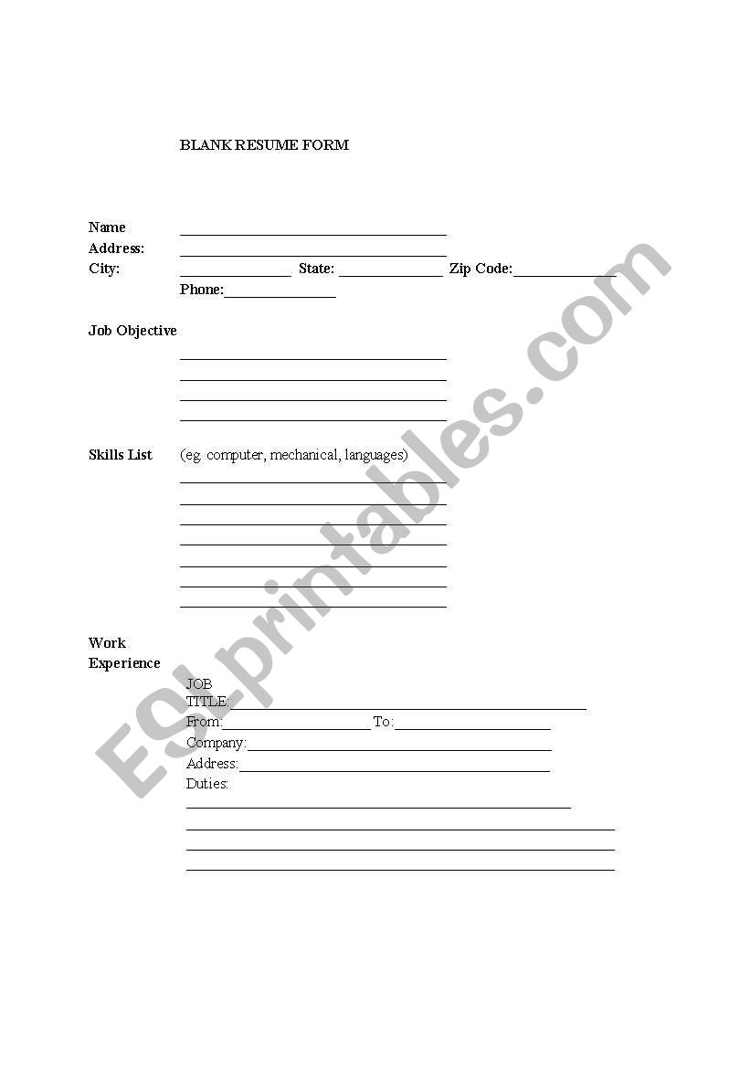 blank resume form for esl job seekers